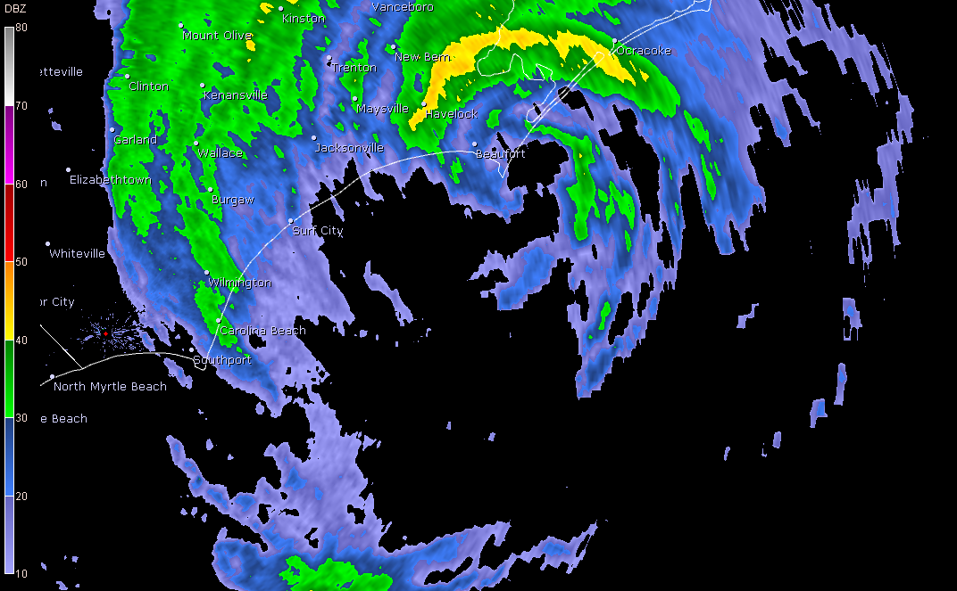 Irene Radar - Approaching NC 2